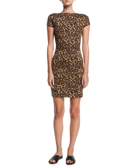 Rosetta Getty Cap-Sleeve Backless Leopard Minidress and Matching