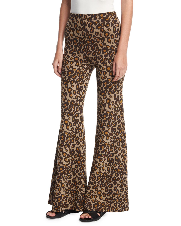 Rosetta Getty Leopard Fitted Flare-Leg Trousers  942adfdf4