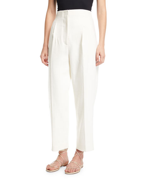 Rosetta Getty Hopsack High-Rise Cropped Trousers