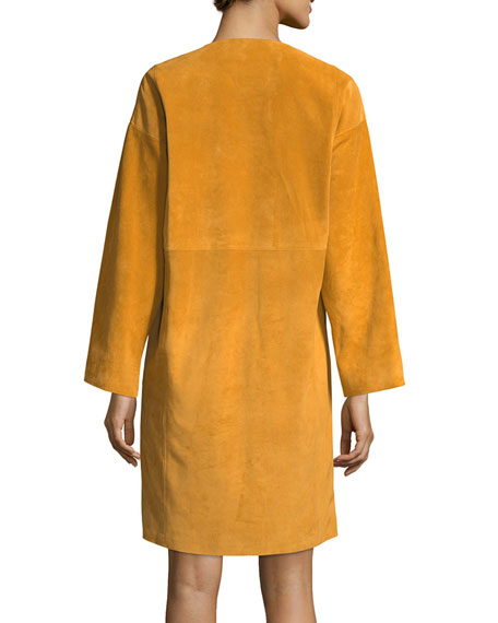 Split-Neck Long-Sleeve Suede Dress