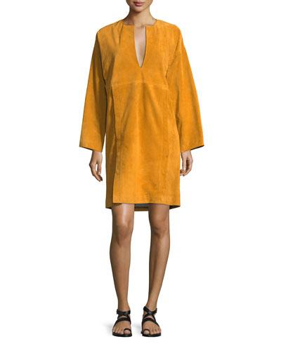 Split-Neck Long-Sleeve Suede Dress