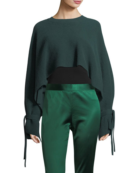 Rosetta Getty Tie-Sleeve Cropped Cashmere Sweater and Matching