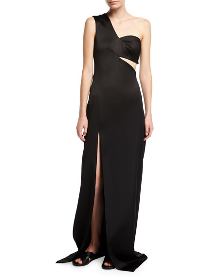 Rosetta Getty One-Shoulder Satin Column Gown