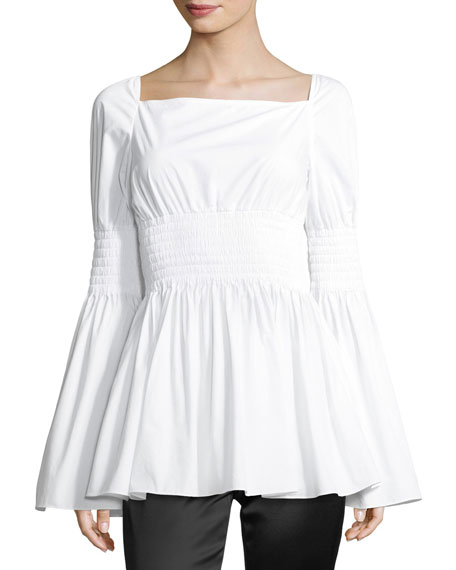 Rosetta Getty Smocked Poplin Top