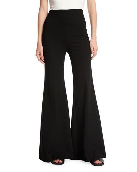 ROSETTA GETTY Jersey Flare-Leg Trousers in Black