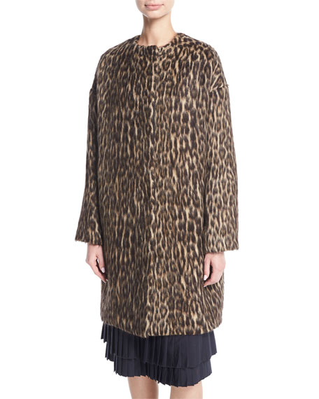 Brock Collection Cynthia Brushed Leopard-Print Caban Coat and
