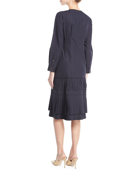 Dessa Pleated Poplin Shirtdress