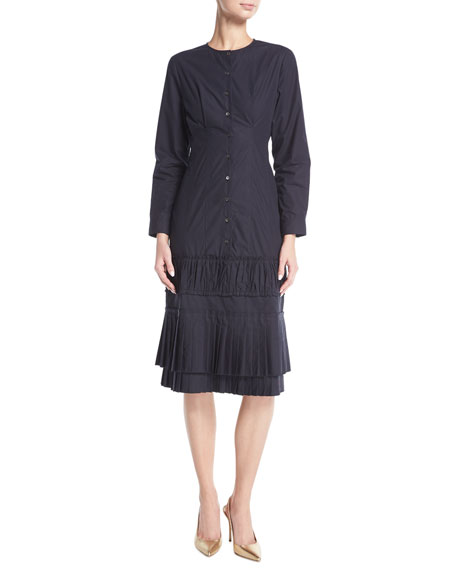 Brock Collection Dessa Pleated Poplin Shirtdress