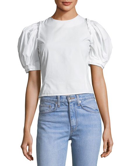 Takako Poplin Lace-Up Top