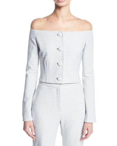 bb678105e0f0 Brock Collection Jackie Off-the-Shoulder Gingham Suiting Jacket
