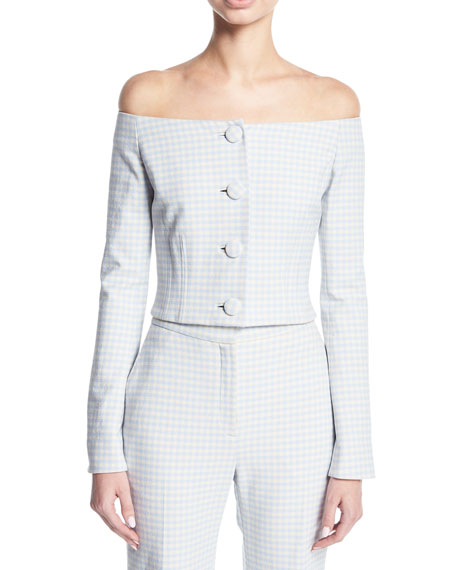 Brock Collection Jackie Off-the-Shoulder Gingham Suiting Jacket