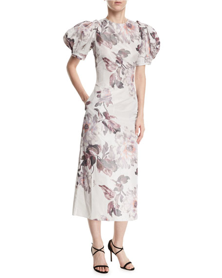 Brock Collection Damara Puff-Sleeve Midi Cocktail Dress