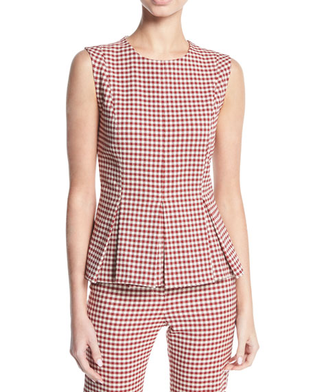 Tara Gingham Pleated Peplum Top