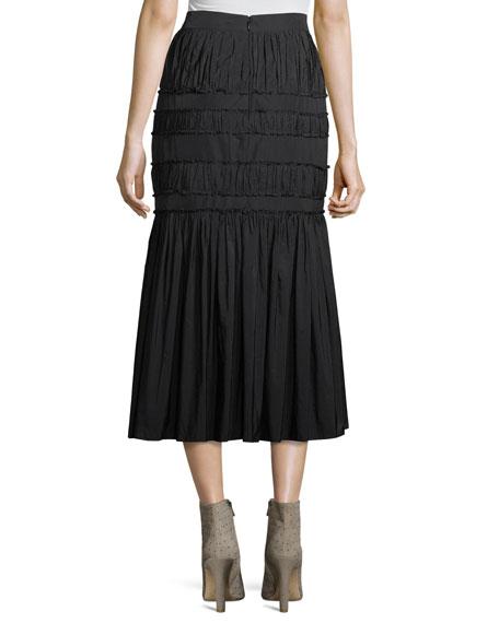 Sevilla Pleated Taffeta A-Line Midi Skirt