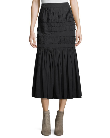 Brock Collection Sevilla Pleated Taffeta A-Line Midi Skirt