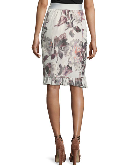 Selin Floral Ruffle-Hem Skirt