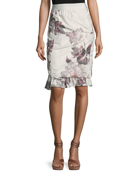 Brock Collection Selin Floral Ruffle-Hem Skirt