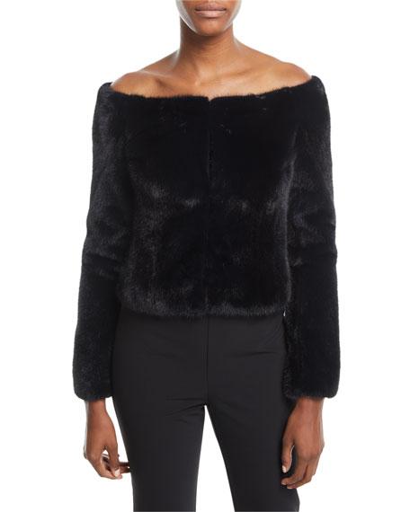 Brock Collection Frances Off-the-Shoulder Mink-Fur Coat