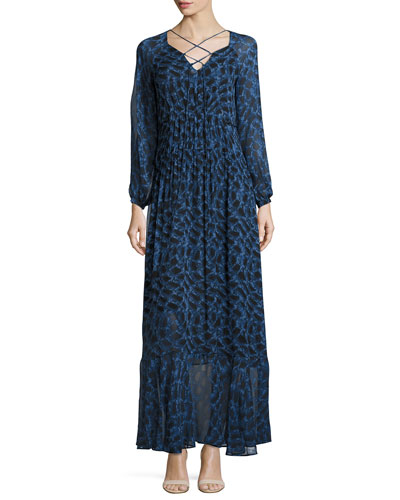 Python-Print Long-Sleeve Maxi Dress