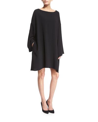 Long-Sleeve Mini Caftan Dress, Black