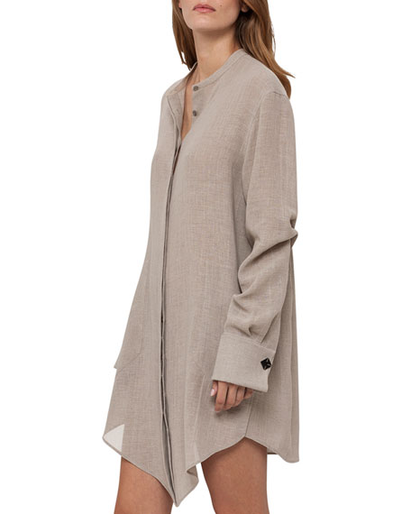 Long-Sleeve Asymmetric Linen Tunic