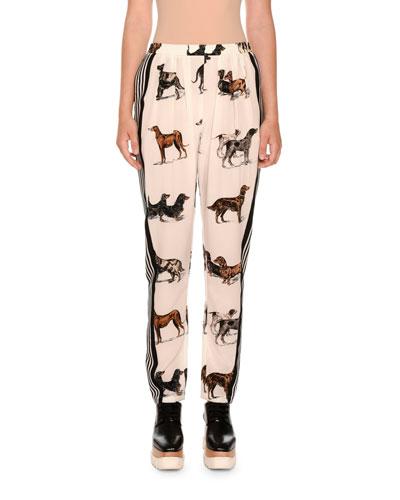 Dog-Print Silk Track Pants, White