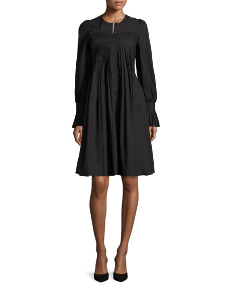 Long-Sleeve Pleated Shirtdress, Black