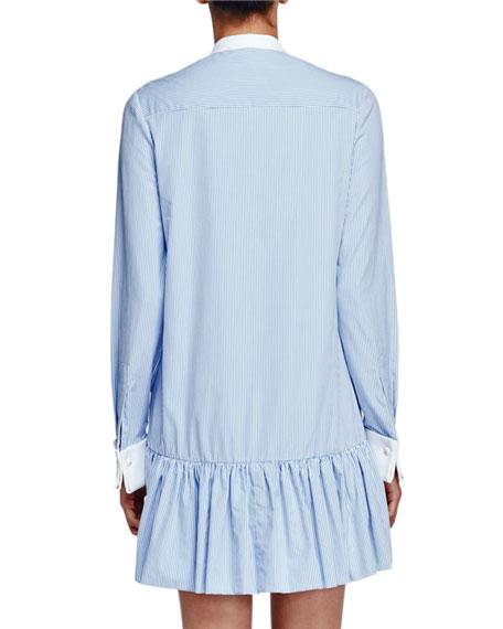 Striped Poplin Drop-Waist Tunic Dress, Light Blue