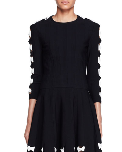 Knit Bow Sweater with Cutouts, Black/White