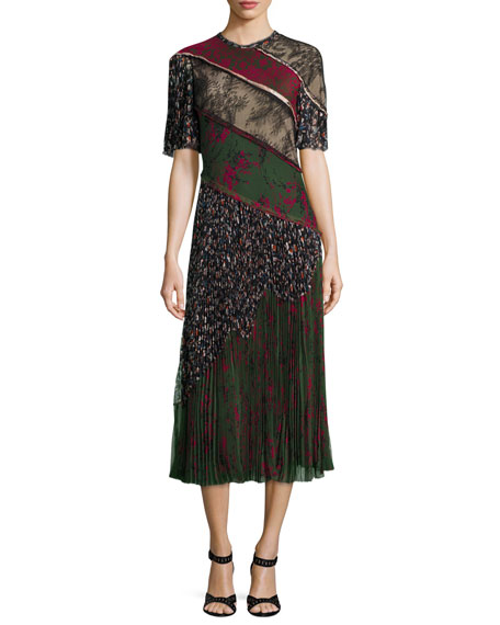 Jason Wu Printed Lace-Inset Pleated Dress, Military/Multi