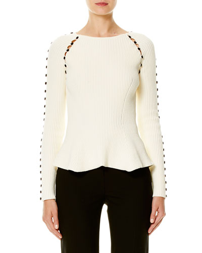 Button-Trim Peplum Sweater