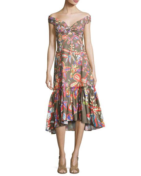 Peter Pilotto Off-the-Shoulder Floral-Print Midi Flounce Dress
