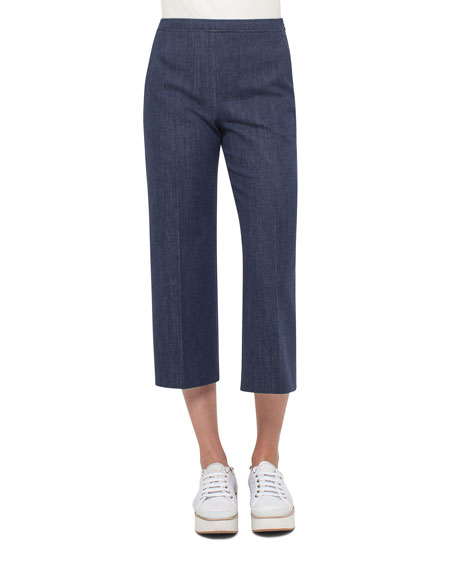 Akris punto Denim Side-Zip Culotte Pants, Blue Denim