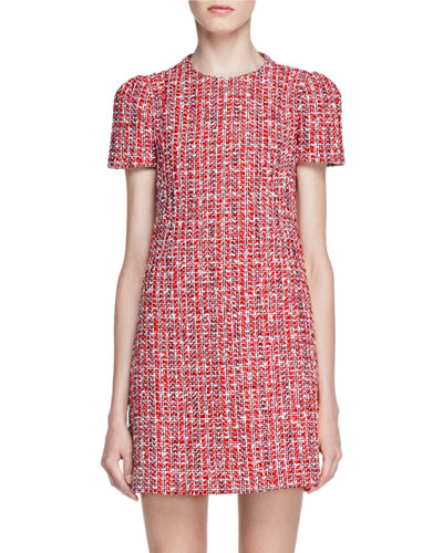 Short-Sleeve Tweed Shift Dress