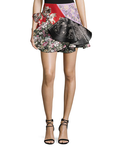 Patchwork Ruffled Leather Miniskirt