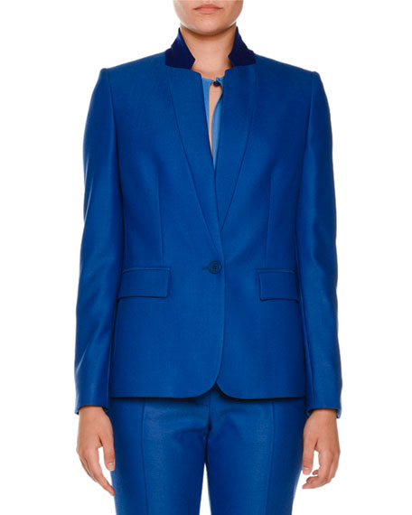 Stella McCartney Fleur Stand-Collar One-Button Jacket
