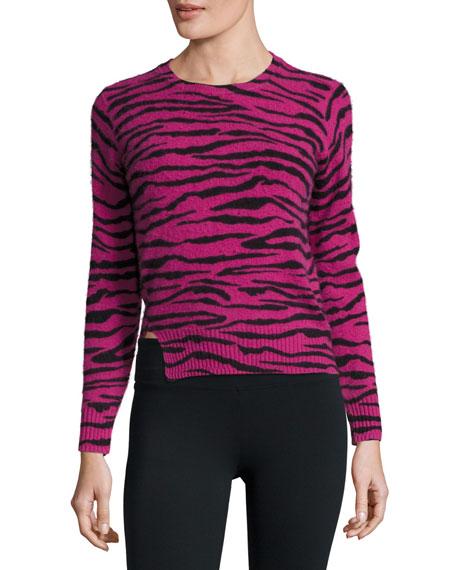 Cashmere Tiger-Print Crewneck Sweater