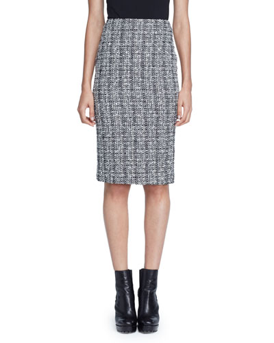 Lightweight Tweed Pencil Skirt, Black/White