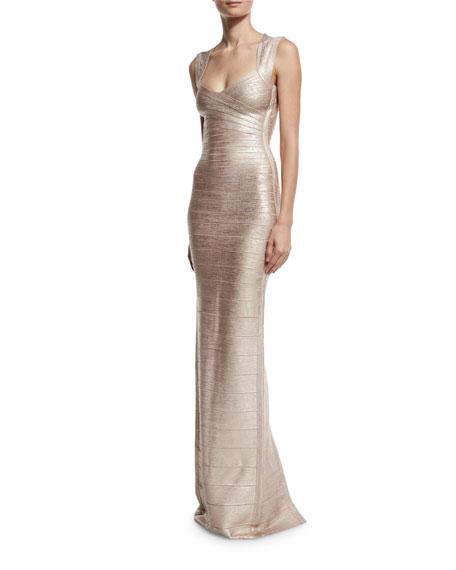 Cap-Sleeve V-Neck Bandage Gown, Rose Gold