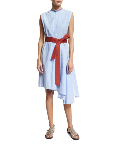 Mandarin-Collar Dress w/Tie Belt
