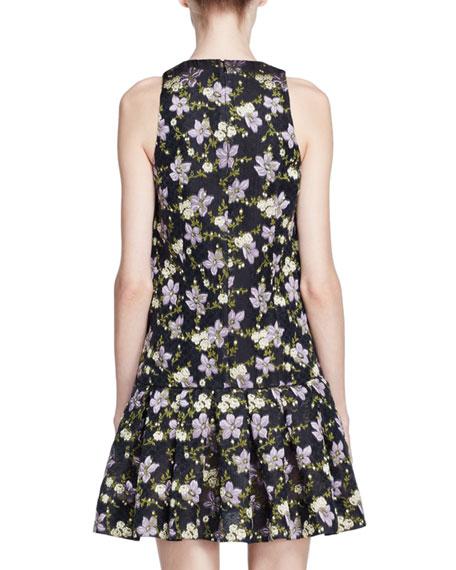 Floral Fil Coupe Drop-Waist Dress