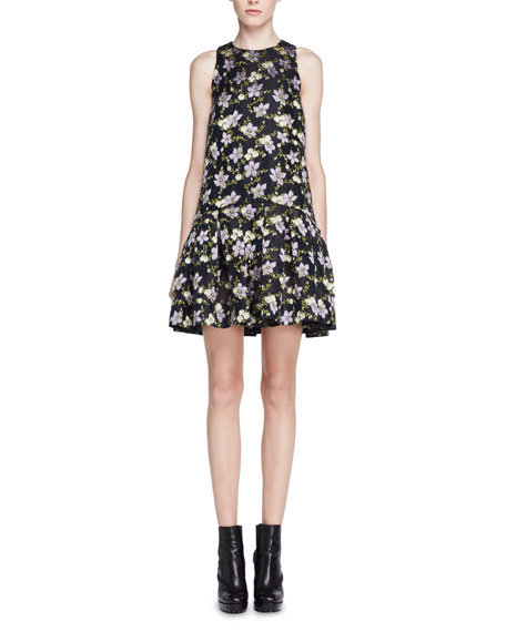 Alexander McQueen Floral Fil Coupe Drop-Waist Dress