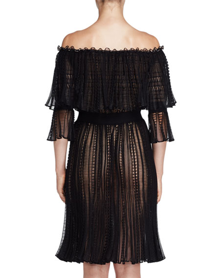 Tiered Lace Off-the-Shoulder Dress, Black/Cameo