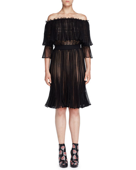 Alexander McQueen Tiered Lace Off-the-Shoulder Dress, Black/Cameo