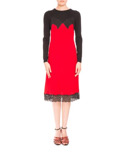 Long-Sleeve Cami-Overlay Cocktail Dress, Scarlet/Black