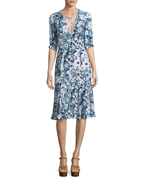 Floral Bias-Cut Keyhole Dress, Blue/Multi