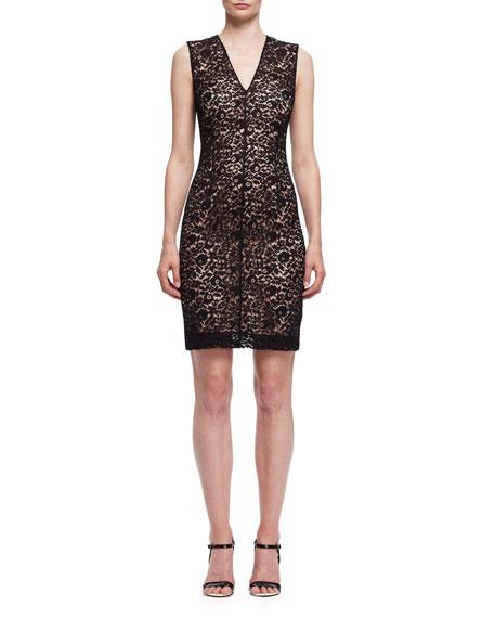 Lace Sleeveless V-Neck Dress, Black/Powder