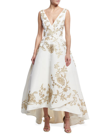 Oscar de la Renta Embroidered Silk Faille High-Low
