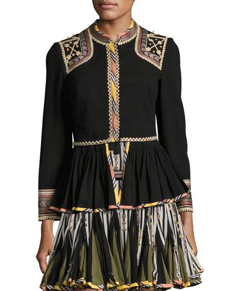 Embroidered Peplum Jacket, Black