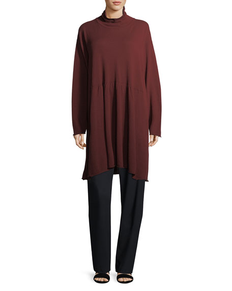Cashmere A-Line Scrunch-Neck Tunic